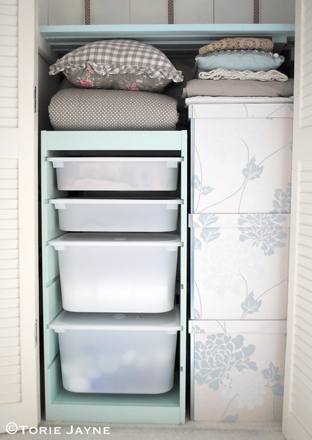Wallpapered boxes and Ikea drawers