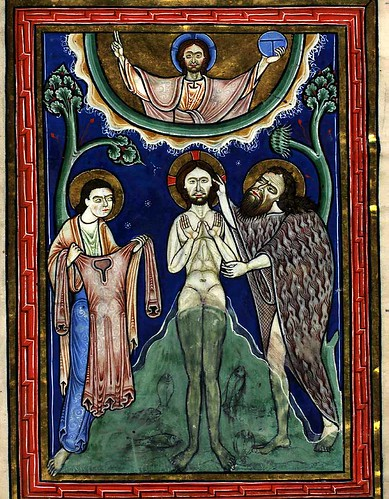 008- El bautimos de Cristo-13 recto-The Copenhagen Psalter- 1175-1200- Thott 143 2º-The Royal Library