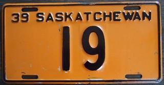 1939 SASKATCHEWAN ---LICENSE PLATE #19