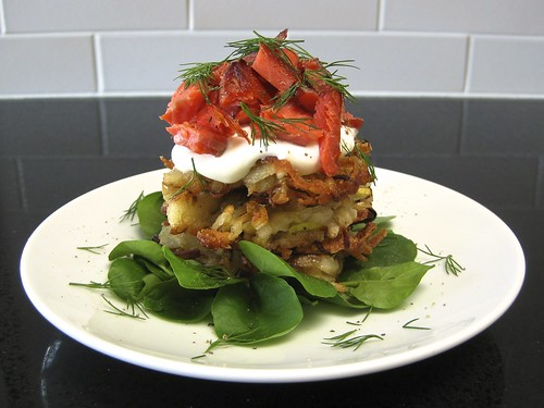 Smoked Salmon and Potato-Leek Pancake Stacks with Sour Cream, Dill and Watercress