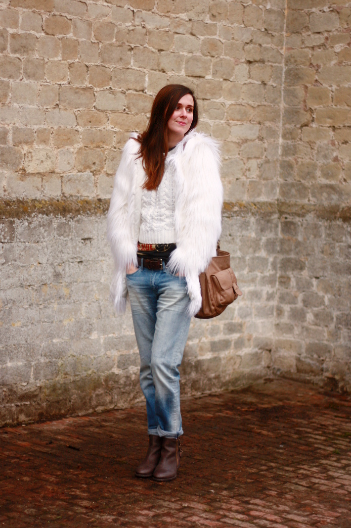 Shaggy Faux Fur and Boyfriend Jeans
