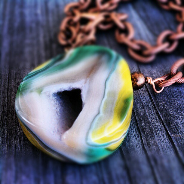 Chunky geode pendant on copper chain. #necklace #druzy #geode #chain #etsy #jewelry #sydneyaustindesigns