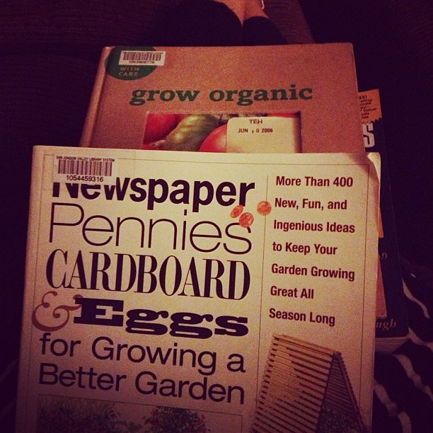 Went to the library today. Now I'm planning away while we catch up on American Idol. #garden #isitspringyet