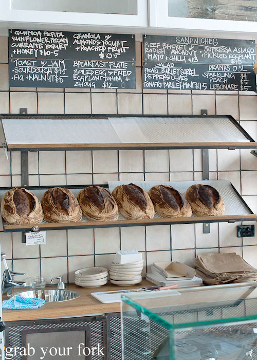 sourdough bread and blackboard menu at brickfields chippendale