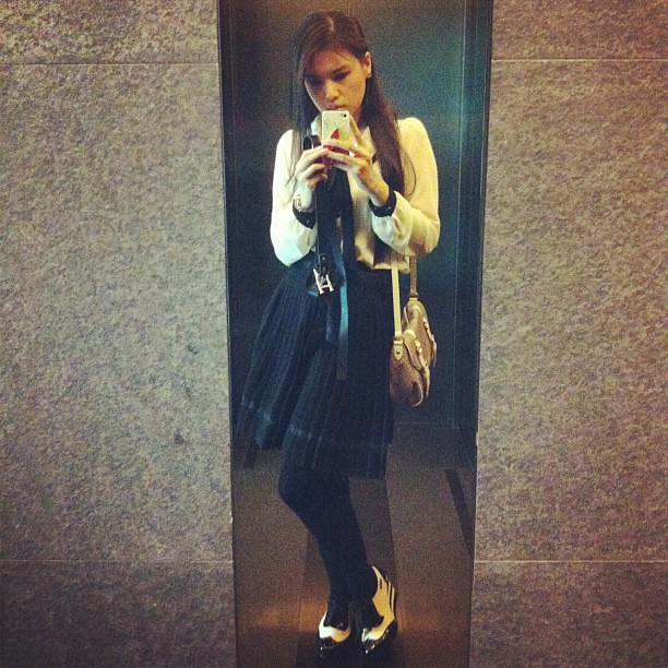 Ootd. Top from #japan. Skirt from #taiwan. Stockings from #australia. Burberry blue label bag and watch from #japan. Shoes #hushpuppies #annasui. Earrings #chanel. Necklace #juicycouture. #fashion #tokyo #japanese #burberry #burberrybluelabel