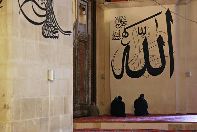People praying in Eski Mosque, Edirne, Turkey エディルネ、エスキ・ジャーミーでお祈りをする人々
