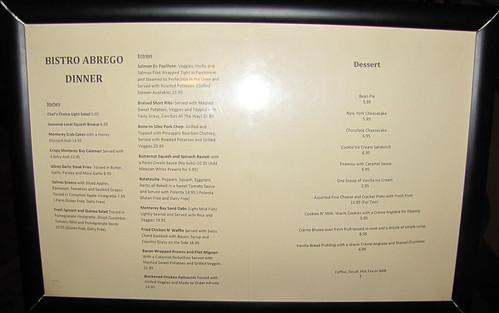 Menu at Bistro Abrego