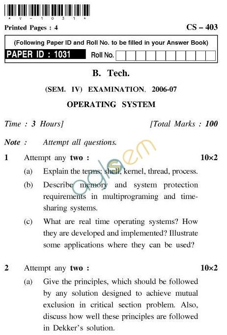 UPTU B.Tech Question Papers - CS-403-Operating System
