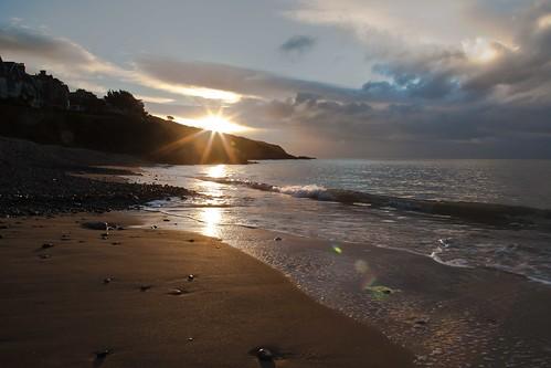 sea swansea clouds sunrise bay sand tide tags pebbles full langland