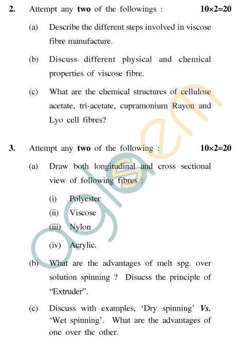 UPTU B.Tech Question Papers - CT-404 - Fibre Science-II