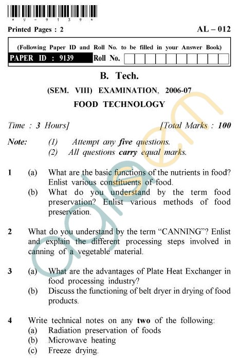 UPTU B.Tech Question Papers - AL-012 - Food Technology