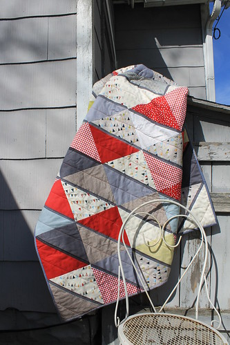 Red and Gray Diamond Quilt