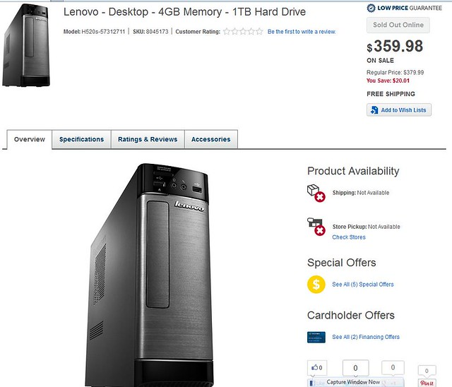 The Wonderful World of eCommerce - Lenovo Computer is Not Available