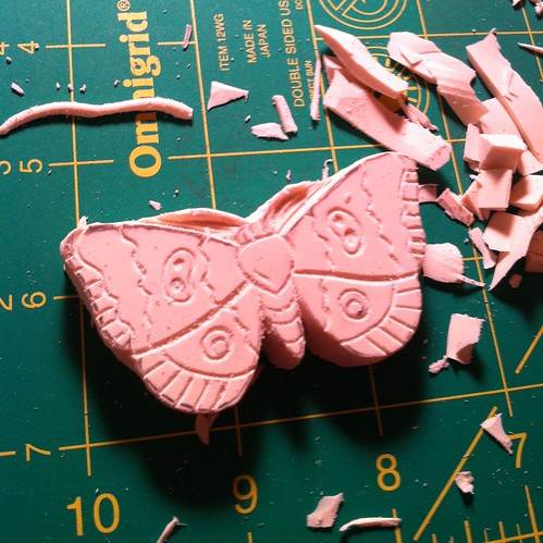Hand carved moth stamp