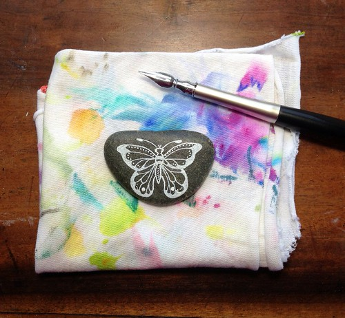 Butterfly Painted Pebble by MagaMerlina