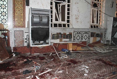 Damage from bomb blast of mosque in Syria. The government has been the target of US-backed rebels for over two years. by Pan-African News Wire File Photos