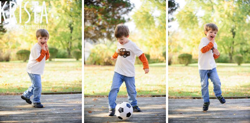 Boy playing with soccer and football