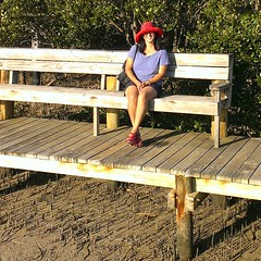 Enjoying a relaxing seat in the sun on the boardwalk