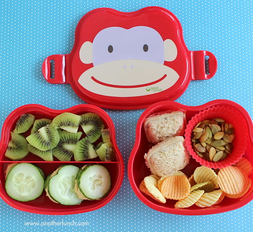 Monkey Face bento box lunch with sandwich ravioli