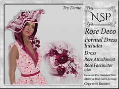 NSP Rose Deco Formal Dress with Hat - Hearts