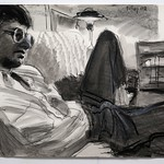 Reclining Man, charcoal and wash, 22 x 30 in, 1994