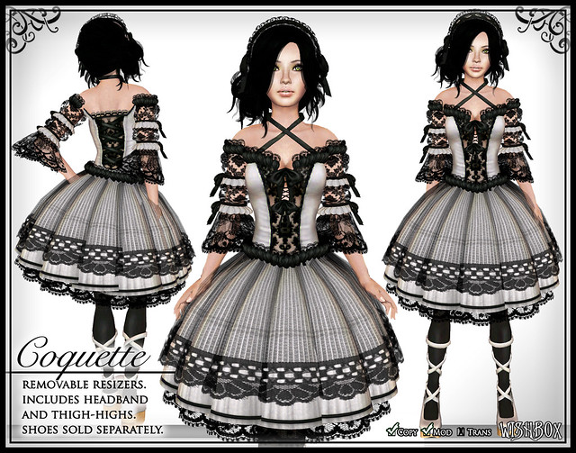 Coquette (White) Gothic Lolita Dress in Second Life
