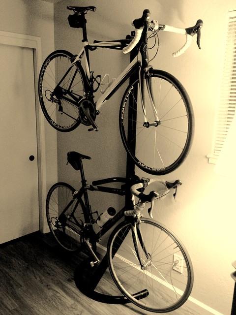Stacking bikes indoor