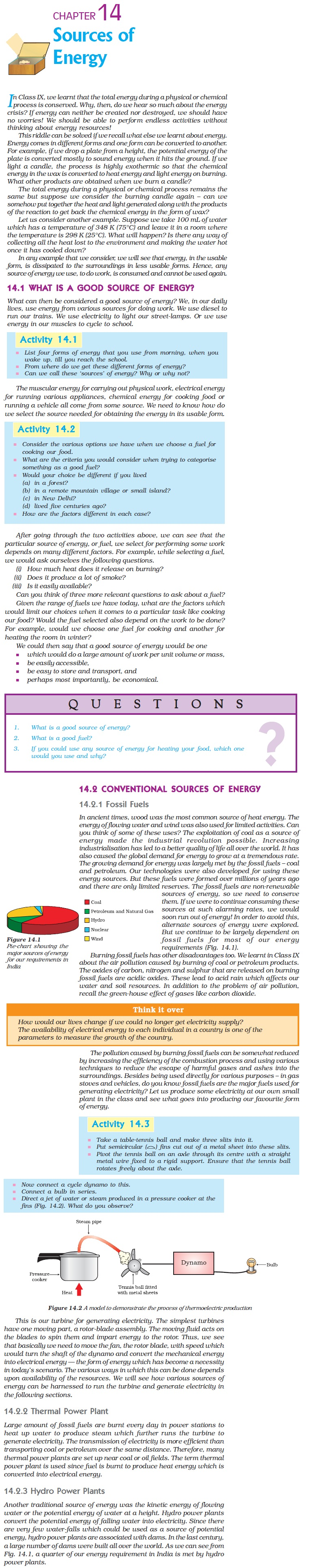 NCERT Class X Science Chapter 14 - Sources of Energy