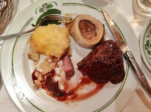 Eating steak at Au Pied de Cochon