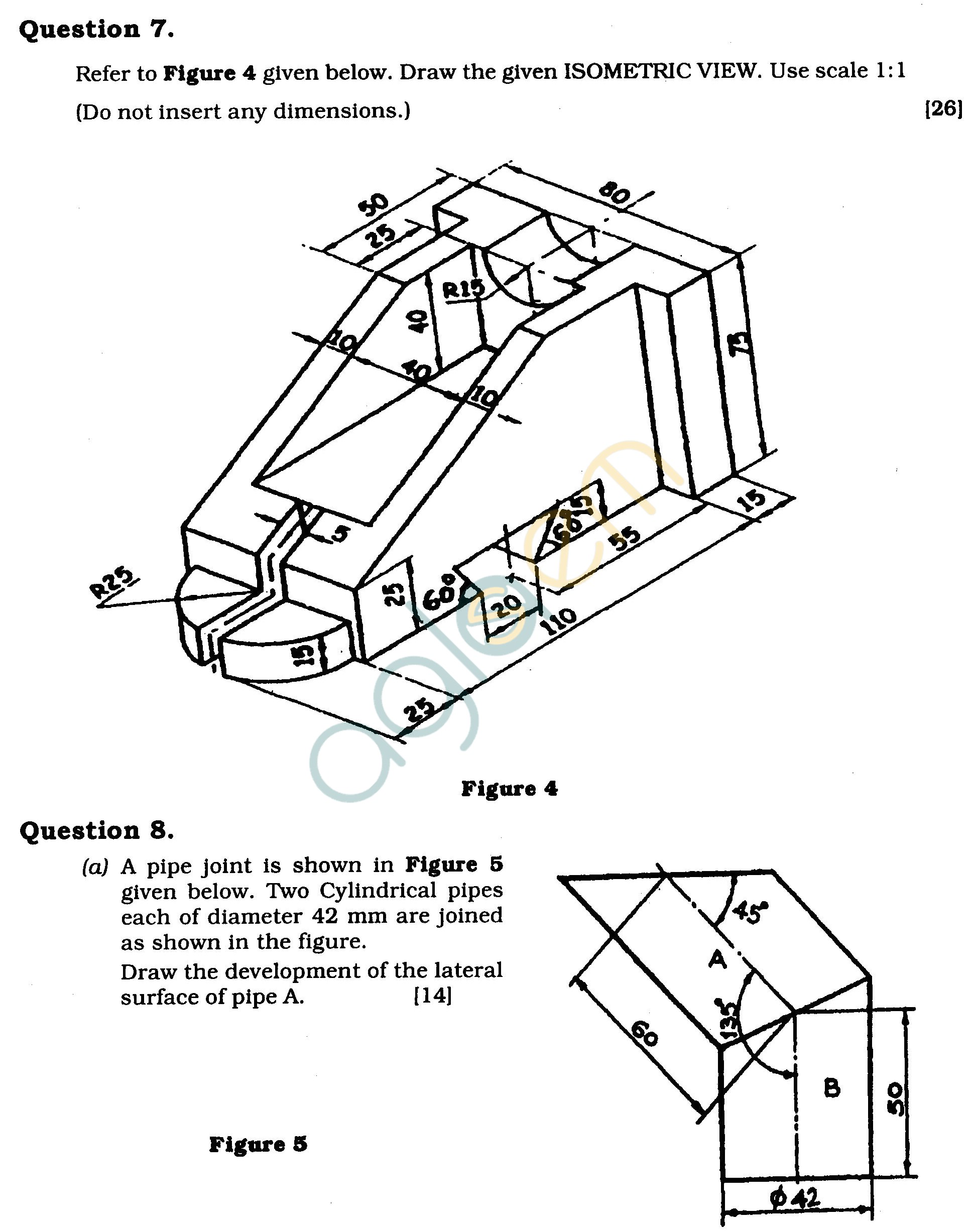 ICSE Class X Exam Question Papers 2011 Technical Drawing Applications