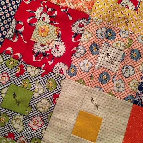 Basted & ready to be quilted.  First project for A Lovely Year of Finishes.