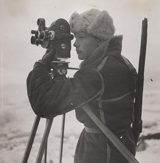 Photographer Mattis Mathiesen at work on Jan Mayen