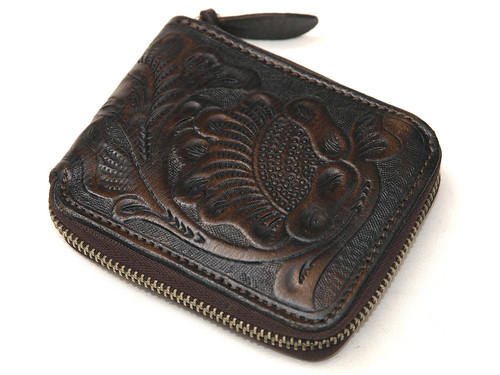 RRL / Tooled Leather Zip Wallet