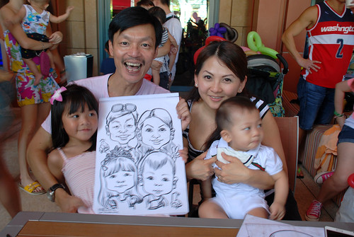 caricature live sketching for Mark Lee's daughter birthday party - 9