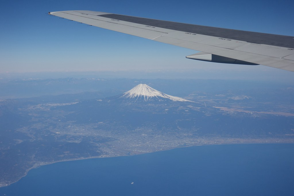 Mt.Fuji and Shizuoka City from airplane