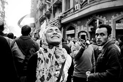A Woman Leading Chants in March to Tahrir