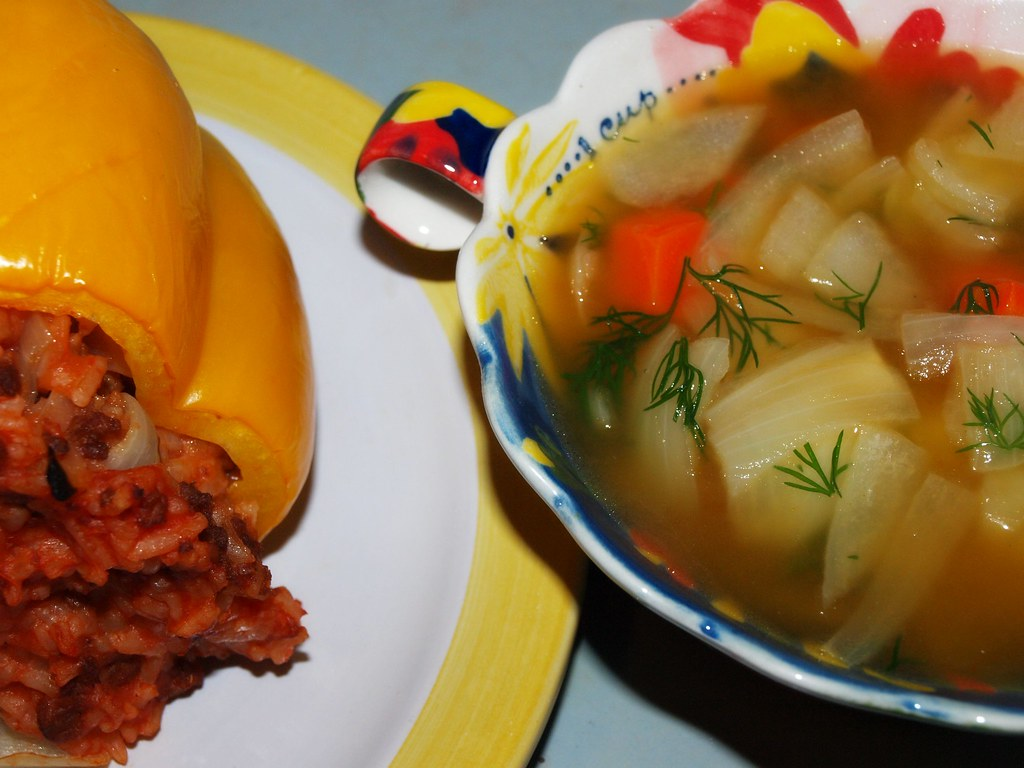 Vegetable Dill Soup and a Stuffed Pepper (Vegan)