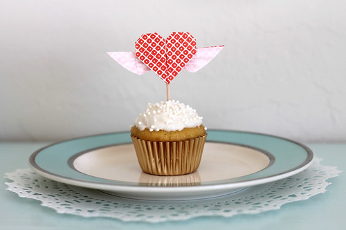 Winged heart cupcake topper