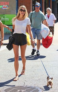 Jessica Hart Leather Shorts Celebrity Style Women's Fashion