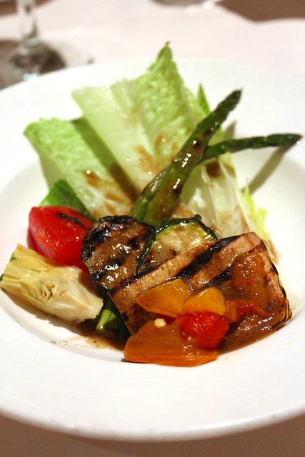 Grilled Vegetables with Chives and Hearts of Romaine Salad with Balsamin viniagrette