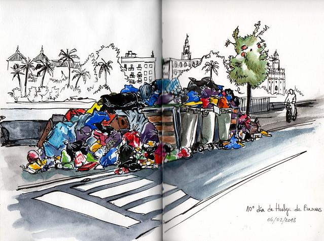 Huelga de basuras calle betis