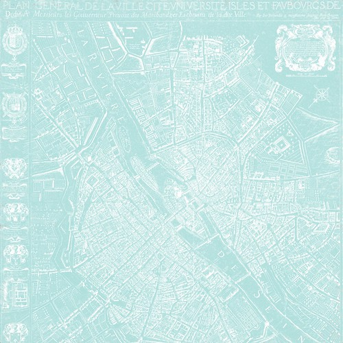2a Map 12 Map 1654 Plan de Boisseau - free printable digital patterned paper set SAMPLE654 Plan de Boisseau (light turquoise) - free printable digital patterned paper