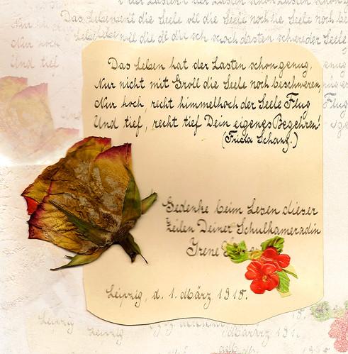 Poesiealbum 1918 Spruch Frida Schanz Blumen Erinnerung