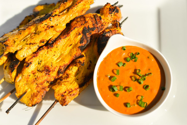 Thai Chicken Satay with Spicy Peanut Dipping Sauce
