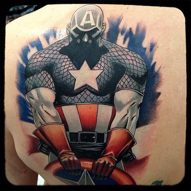 Captain America tattoo I did yesterday at the Best in the Midwest Tattoo Convention #tattoo #tattoos #ink #eternalink #tattooartist #tattooconvention #bestinthemidwest #rebelmuse #captainamerica #backtattoo #besttattoo #picoftheday