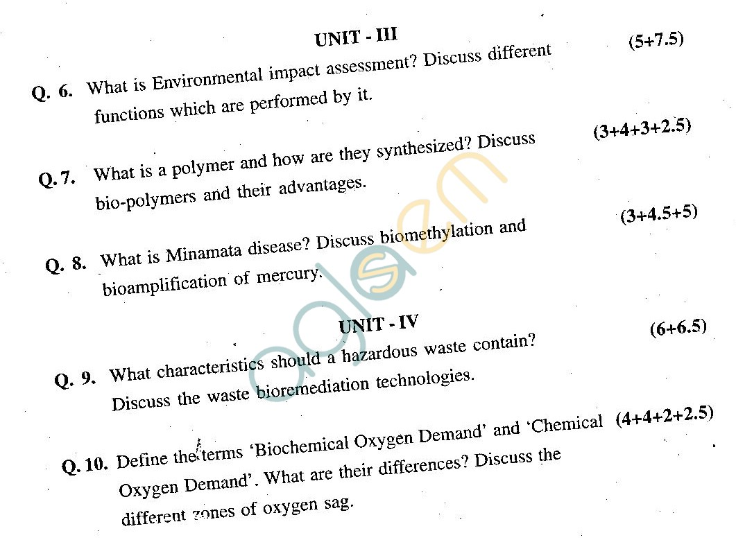 GGSIPU Question Papers Second Semester – end Term 2011 – ETCH -106