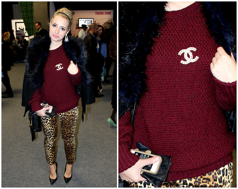 nyfw oxblood sweater, leopard jean, chanel pin, fur stole