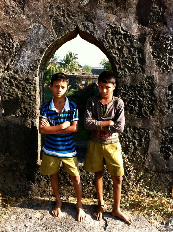 Local kids pose at Arnala fort