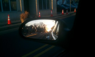 Sun in Rear-View Mirror