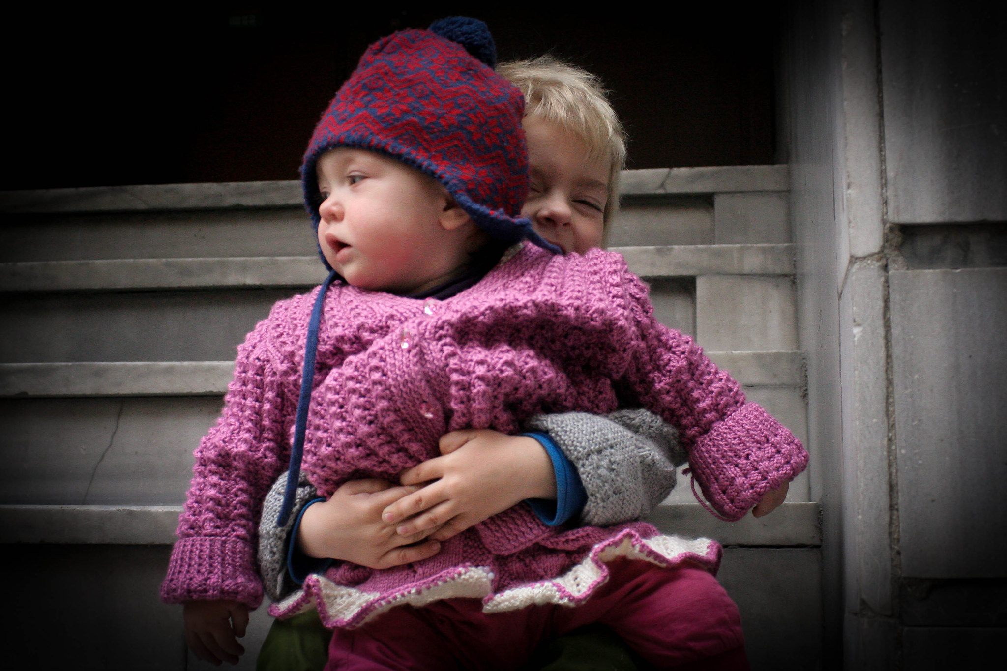 Anton and Neve in new knitwear.